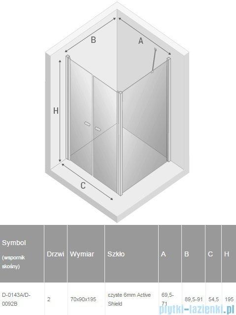 New Trendy New Soleo 70x90x195 cm kabina wspornik skośny przejrzyste D-0143A/D-0092B