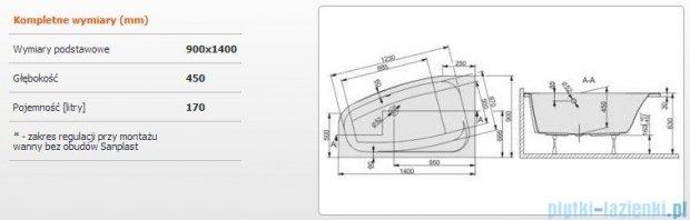 Sanplast Free Line Wanna asymetryczna lewa+stelaż WAL/FREE 140x90+ST26, 610-040-0640-01-000