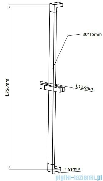 Omnires drążek prysznicowy ze stali nierdzewnej 77,5cm chrom DR08