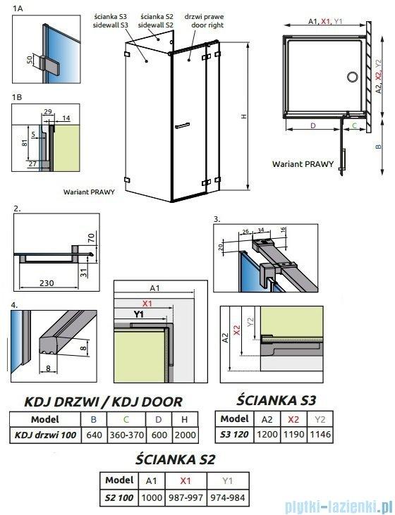 Radaway Euphoria KDJ P Kabina przyścienna 100x120x100 prawa szkło przejrzyste 383040-01R/383032-01/383037-01