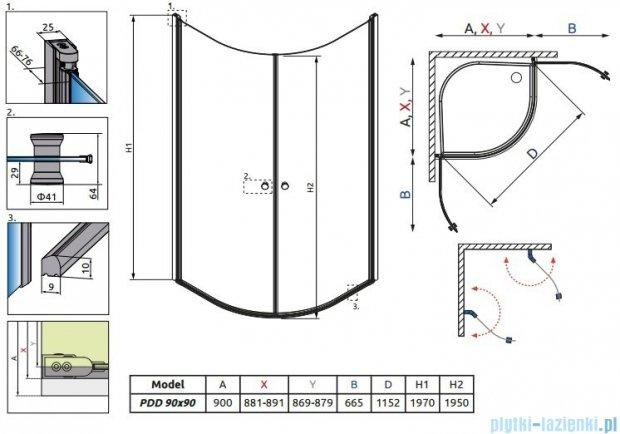 Radaway Eos PDD kabina prysznicowa 90x90 szkło przejrzyste + brodzik Delos A + syfon 37603-01-01N