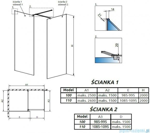 Radaway Modo New III kabina Walk-in 110x100x200 szkło przejrzyste 389114-01-01/389104-01-01/389000-01