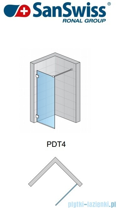 SanSwiss Pur PDT4 Ścianka wolnostojąca 30-100cm profil chrom szkło Efekt lustrzany Prawa PDT4DSM11053
