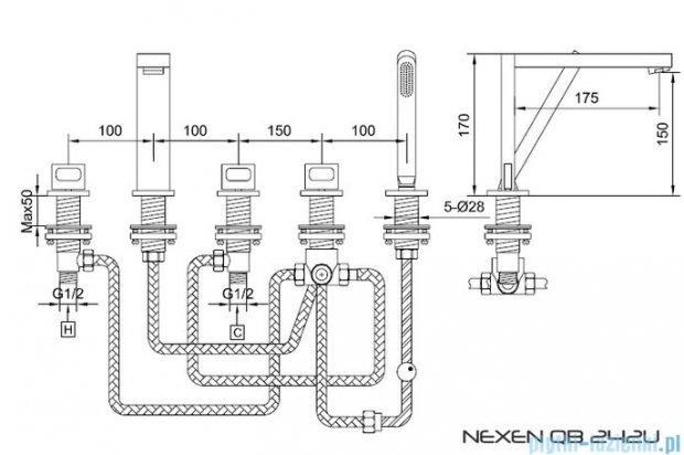 Kohlman Nexen 5-otworowa bateria wannowa QB242U