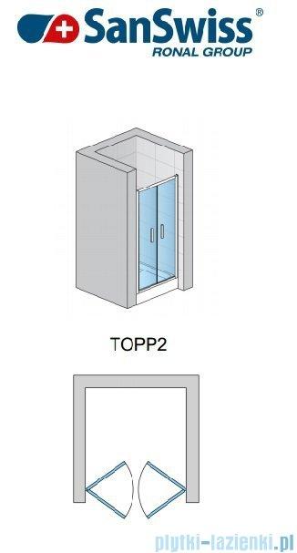 SanSwiss TOPP2 Drzwi 2-częściowe 75cm profil biały TOPP207500407