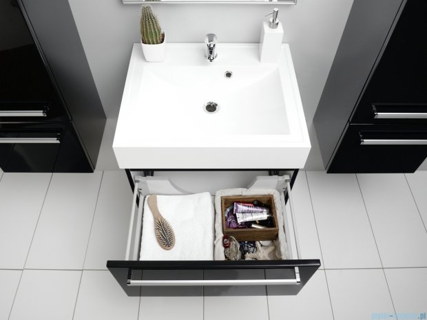 Antado Variete szafka z umywalką, wisząca 60x50x33 czarny połysk FM-442/6-9017 + UNA-600