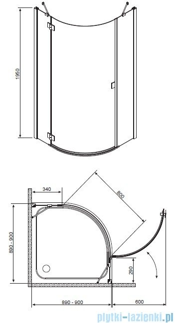 Kabina Radaway Essenza PDJ 90x90 Prawa szkło grafitowe 32602-01-05NR