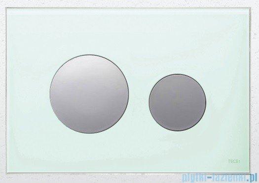 Tece Przycisk spłukujący ze szkła do WC Teceloop szkło zielone przyciski chrom połysk 9.240.653