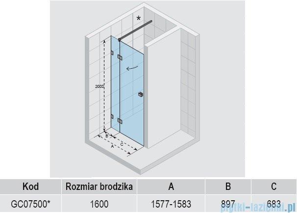 Riho Scandic S104 drzwi prysznicowe 160x200 cm GC07500
