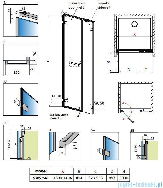 Radaway Arta Dws drzwi wnękowe 140cm lewe szkło przejrzyste 386828-03-01L/386095-03-01L