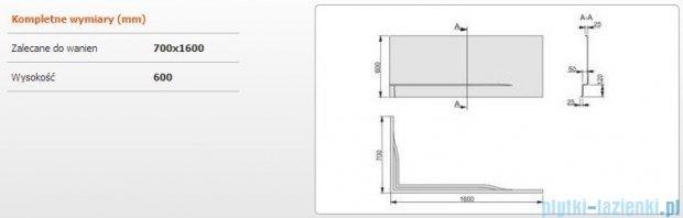 Sanplast Obudowa do wanny Free Line prawa, OWPLP/FREE 70x160 cm 620-040-0090-01-000