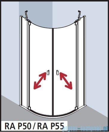 Kermi Raya Kabina ćwierćkolista, drzwi wahadłowe, szkło przezroczyste KermiClean, profile srebrne 120x120x200 RAP5012020VPK