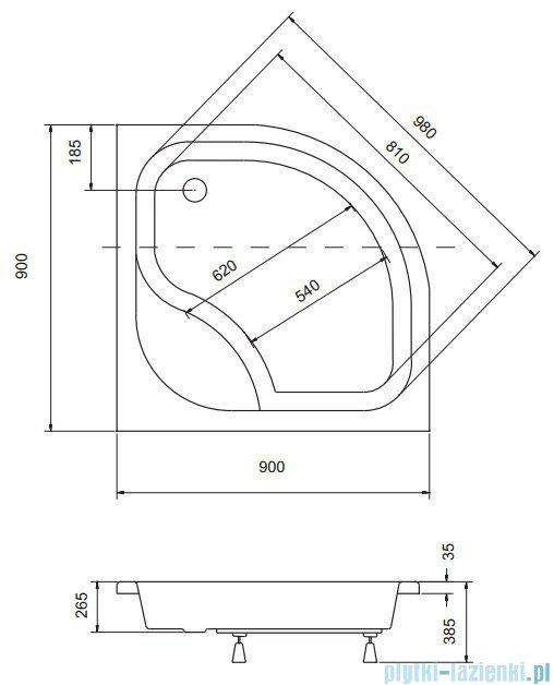 Sea Horse Sigma zestaw kabina natryskowa półokrągła - niska 90x90 chinchilla + brodzik BKZ2/3/K/