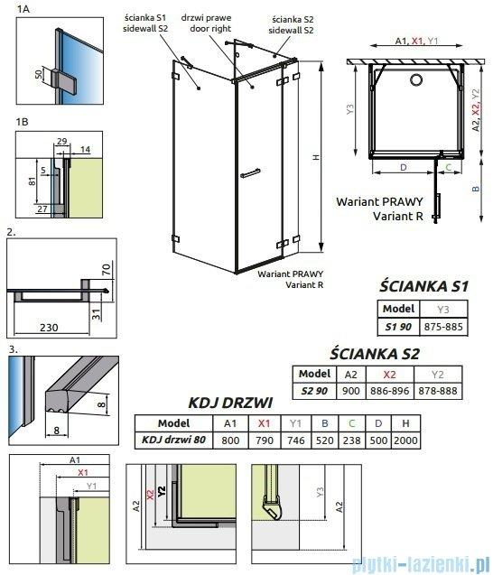Radaway Euphoria KDJ+S Kabina przyścienna 90x80x90 prawa szkło przejrzyste + brodzik Argos D + syfon 383021-01R/383050-01/383030-01/4AD89-01
