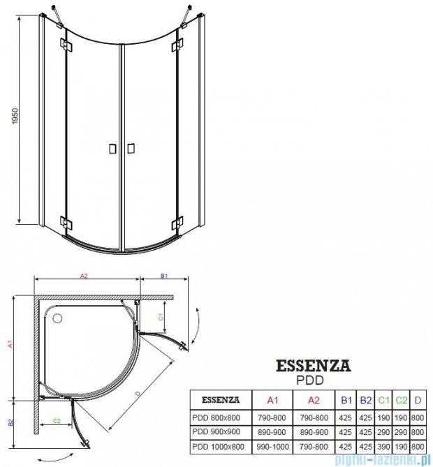 Radaway Essenza PDD kabina 100x100 szkło grafitowe 32522-01-05N