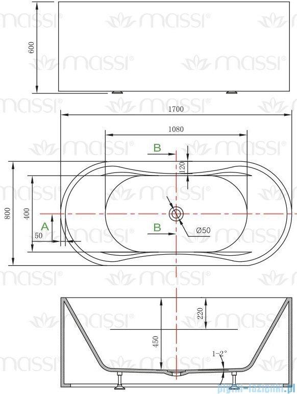 Massi Giro wanna wolnostojąca 170x80cm biała + syfon MSWA6808