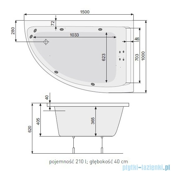 Poolspa Viva Klio wanna asymetryczna 150x100 prawa + hydromasaż system SD3 PHA2B10SD3C0000
