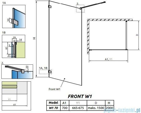 Radaway Euphoria Walk-in V kabina 70cm szkło przejrzyste 383117-01-01