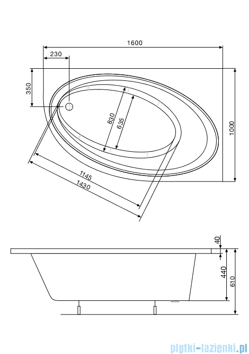 Roca Orbita wanna asymetryczna 160x100 cm prawa A24T225000