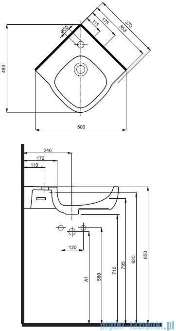 Koło Style Umywalka 37cm narożna z powłoką Reflex L21750900