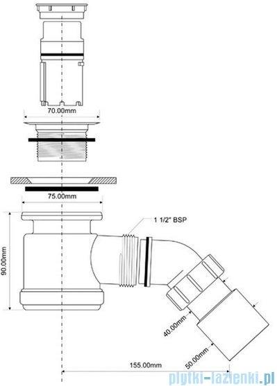 McAlpine Syfon brodzikowy 50'' pokrywa kolorze stal szczotkowana HC26S-SNB