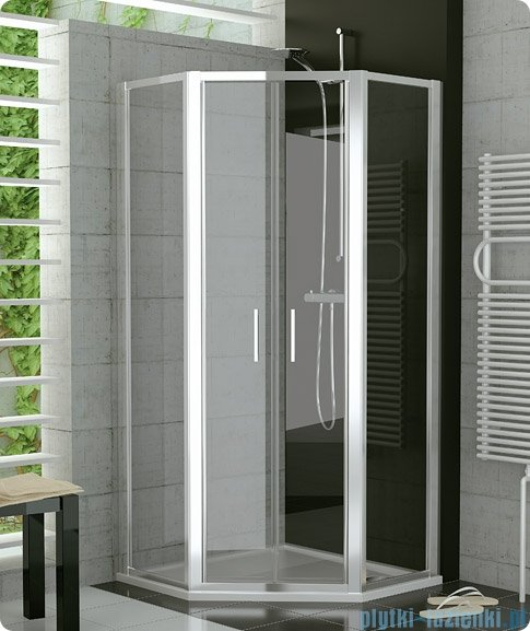 SanSwiss Top-Line TOP52 Pięciokątna kabina prysznicowa z drzwiami otwieranymi 100x100cm TOP527100SF51