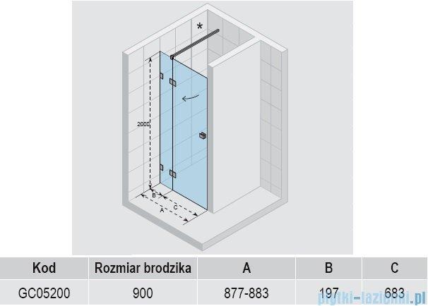 Riho Scandic S104 drzwi prysznicowe 90x200 cm GC05200