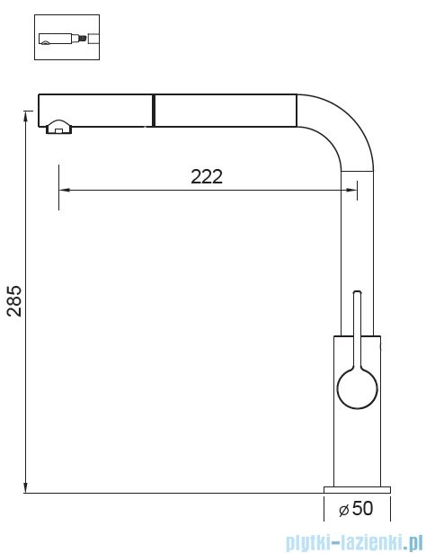Art Platino Viola bateria kuchenna z wyciąganą wylewką chrom 5901730613070