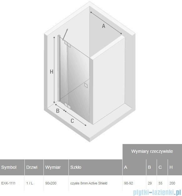 New Trendy Kamea drzwi prysznicowe 90cm lewe szkło przejrzyste EXK-1111