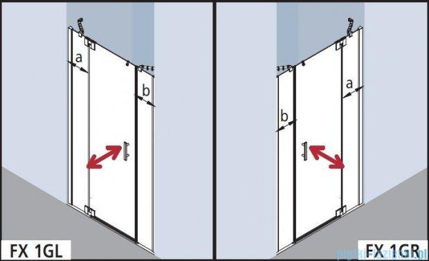 Kermi Filia Xp Drzwi wahadłowe 1-skrzydłowe z polami stałymi, prawe, szkło przezroczyste, profile srebrne 170x200cm FX1GR17020VA