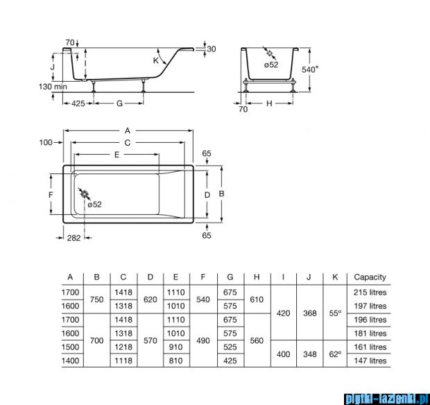 Roca Easy wanna 140x70cm z hydromasażem Smart Air Plus Opcja A24T304000