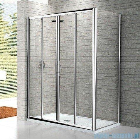 Novellini Drzwi prysznicowe przesuwne LUNES 2A 146 cm szkło przejrzyste profil biały LUNES2A146-1D