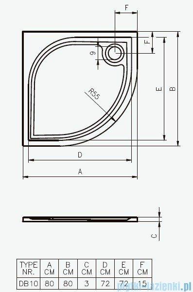 Riho Brodzik półokrągły Kolping 80x80x3 DB10 + nóżki + syfon