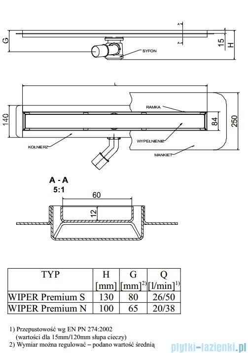 Wiper Odpływ liniowy Premium Ponente 60cm z kołnierzem szlif P600SPS100