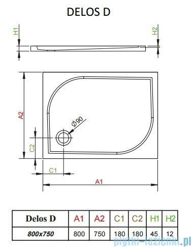 Radaway Delos D brodzik prostokątny 80x75x4,5cm 4D87545-03