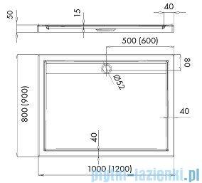 Schedpol Ajax brodzik prostokątny z klapką odpływu 100x80x4,5cm 3.4228