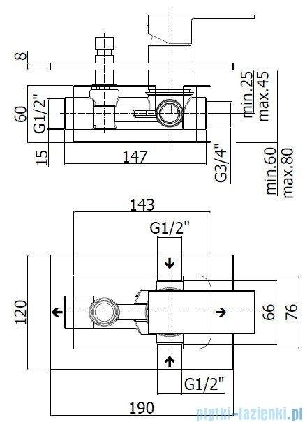 Paffoni  Bateria natryskowa podtynkowa z przełącznikiem ELLE chrom EL015