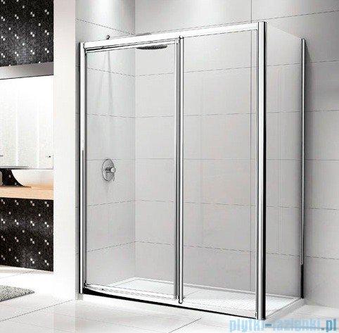 Novellini Drzwi prysznicowe LUNES G+F 138 cm szkło przejrzyste profil biały LUNESGF138-1D