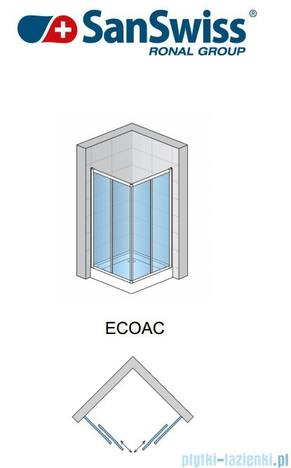 SanSwiss Eco-Line Wejście narożne Eco 75cm profil srebrny szkło przejrzyste Prawe ECOD07500107
