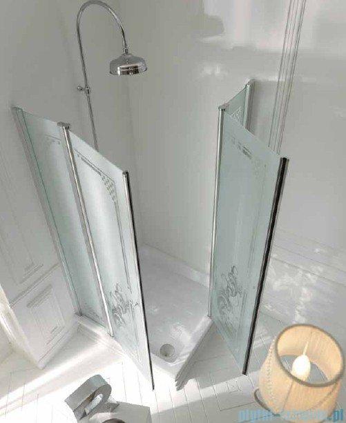 Kerasan Retro Kabina kwadratowa szkło dekoracyjne piaskowane profile chrom 90x90 9145P0