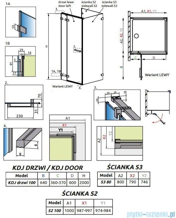 Radaway Euphoria KDJ P Kabina przyścienna 100x80x100 lewa szkło przejrzyste 383040-01L/383032-01/383038-01