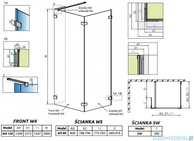 Radaway Euphoria Walk-in IV kabina 130x80cm szkło przejrzyste 383145-01-01/383150-01-01/383160-01-01