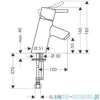 Hansgrohe Talis S Jednouchwytowa bateria umywalkowa bez kompletu odpływowego DN15 32031000