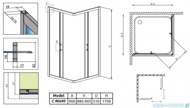 Radaway Premium Plus C Kabina kwadratowa 90x90x170 szkło fabric 30451-01-06N