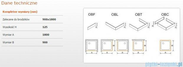 Sanplast Obudowa brodzika OBL 90x180x12,5 cm 625-401-1610-01-000