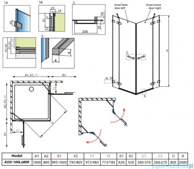 Radaway Euphoria KDD Kabina prysznicowa 100x80 szkło przejrzyste 383062-01L/383061-01R