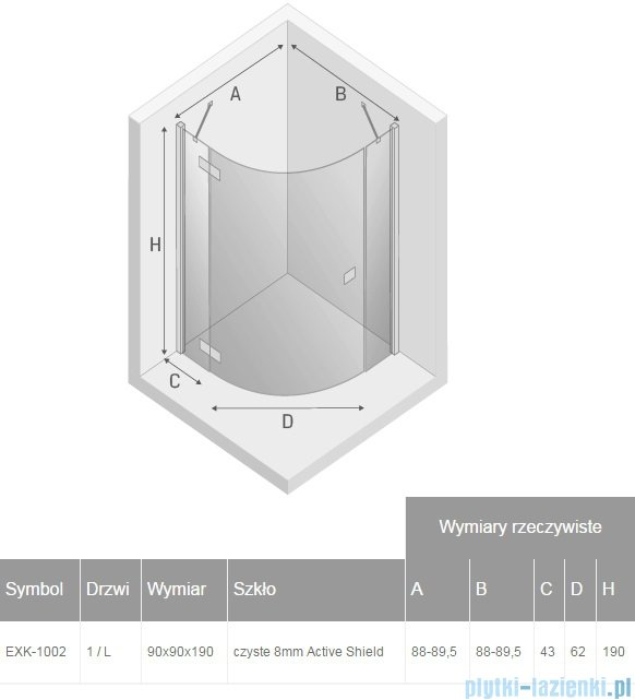 New Trendy Eleganta kabina prysznicowa półokrągła 90x90 lewa przejrzyste EXK-1002