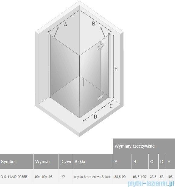 New Trendy New Renoma kabina prostokątna 90x100x195 cm przejrzyste prawa D-0114A/D-0085B