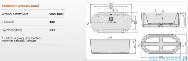 Sanplast Space Line Wanna owalna+stelaż+adapter z pokrywką+obudowa WOW-kpl/SPACE 180x90+SP, 610-100-0950-01-000