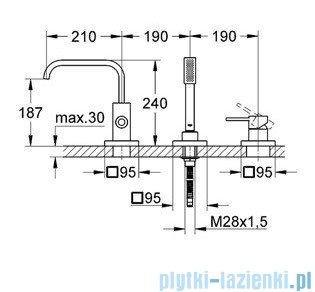 Grohe Allure 3-otworowa bateria wannowa chrom 19316000